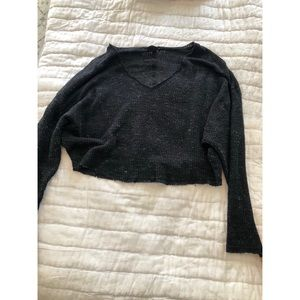 Urban Outfitters Cropped Long Sleeve V Neck